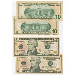 U.S. F.R.N. $10 Series 2006, Pair with Engravers Signature on Back Design.