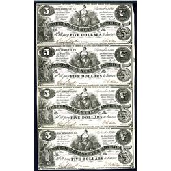 Confederate States of America, $5, 1861, T-36 Uncut Sheet of 4 Notes.