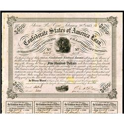 Confederate Bonds Lot of 2, Act of February 20, 1863.