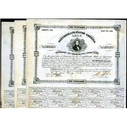 Confederate Bonds Lot of 3, Act of August 19, 1861.
