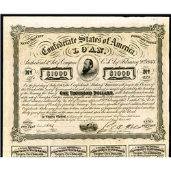 Confederate Bonds Lot of 3, Act of February 20, 1863.