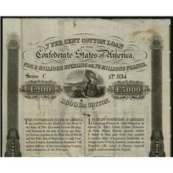 June 1, 1863, 200 Sterling or 5000 Francs, Cr.117, B-157, Type 128, Confederate flag bales of cotton