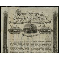 June 1, 1863, 500 Sterling or 5000 Francs, Cr.118, B-158, Type 129, Confederate flag bales of cotton