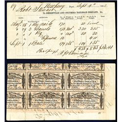 Greenville & Columbia Railroad Co. 1868 Freight Bill printed on the back of a Confederate Bond.