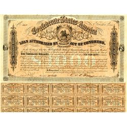 """Confederate Bonds, Act of February 17, 1864 Unlisted """"Rose"""" Signature on 4th Series."""