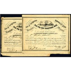 Confederate Bond, Act of February 17, 1864, Lot of 2.
