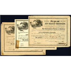 Confederate Bond, Act of February 17, 1864, Lot of 3.