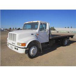 1997 International S/A Slide Back Flat Bed Truck