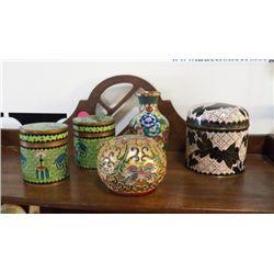 Cloisonne Lot of Jars - Vase & Egg all beautiful painted