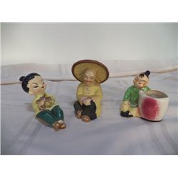 2- Oriental Figurines 1- pocket Oriental Planter made in Japan all marked