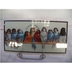 """Double sided Parrot Glass Picture 10"""" x 5"""""""