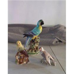 3- Bird  Figurines Signed 1-parrort, 1-