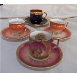 4-Collector Cups & Saucers 1- Limoge Colbot & Gold 1-Victorian Couple  Bavaria Germany 64, 2- Orange