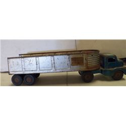 """Structo Truck & Trailer Metal Silver & Green approx 20"""" x 5.5 x H 5."""