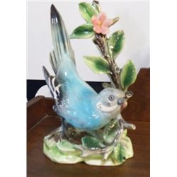 """Porcelain Blue Parakeet Japan approx 4"""" x H 7""""  small chip on one wing"""