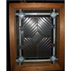 """Heavy Stain Glass Window in Frame approx 19"""" x H 24"""" in Frame  condition is very good"""