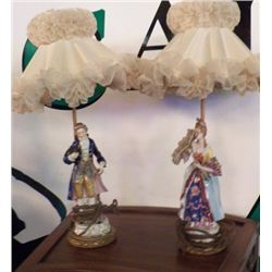 """Pair of Victoria Lamps 1- Man & 1- Women approx 15"""" tall no cracks no chips -beautiful pair"""