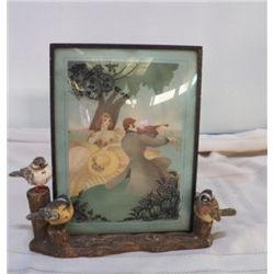 """Porcelain Birds on bark  With Victorian Couple approx 10"""" x 9"""" with picture---picture is removable"""