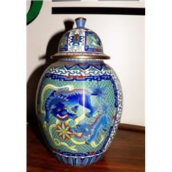 Ginger Jar Blue=White Signed approx 7  x H 12 no chips   no cracks