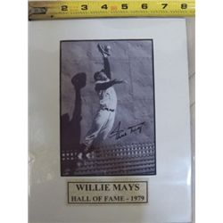 Willie Mays Autographed Mat With Certificate of Authenticity