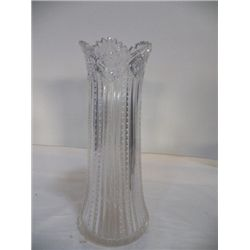 "Hand Cut Crystal Large Vase approx. 6"" at base H 12"" no cracks or Chips"