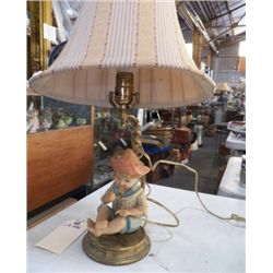 "Porcelain Boy Lamp on Brass Base approx 14"" tall without shade"