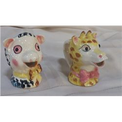 "Pair of Hand Painted Cow Creamers approx 3.5"" x 4"" 1-pink, 1- blue"