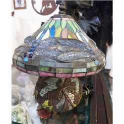 """Small Stain Dragon Fly Glass Lamp approx 11"""" x 13""""  nice night light"""
