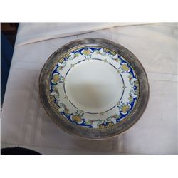 """Royal Worcester Lille Marked RN 711957 set in silver plate frame approx 12.5"""" with frame"""