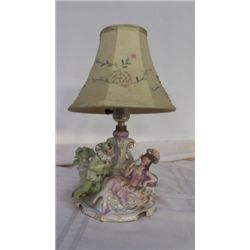 """Vintage Victorian Lamp marked Germany #7317 approx 8: x 10"""" greens & pinks"""