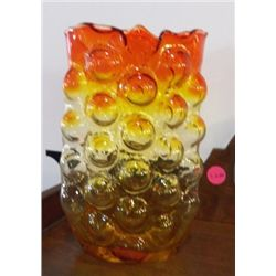 """Hand Blown Yellow & Orange Vase approx. 5"""" x H 8""""  no chips or cracks"""