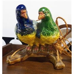 """Hanging Parrots Pottery Planter Marked Japan approx.6.5"""" x H 7""""  no chips or cracks"""