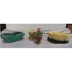 """3-Vintage Pieces of Pottery 2- MCCoy green planter marked McCoy approx.10"""" x 5' x H 3"""", Yellow & gre"""