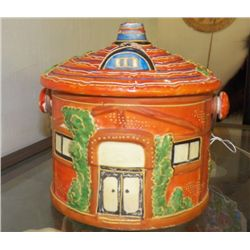 """Vintage Cookie Jar Orange & Green Marked MARKED Japan good condition  approx 10"""" x H 9""""  with lid  b"""