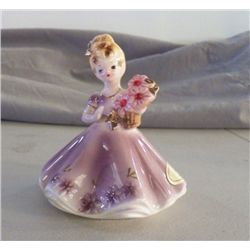 "Josef Original  month of July Lady in Lavender approx 4"" x 4"" still has original stickers no chips o"