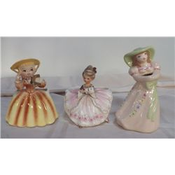 3-Vintage Lady Pocket Planters 1- yellow, 1- white with pink flowers, 1- white with green.