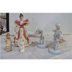 "5-Figurines, 1- Lenox, 2-Germany, 2- B 202 Victorian Lady 10-85 First Waltz-approx 9"", Harvest Lady-"