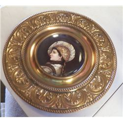 "3-Porcelain Plate in Brass & Wood Wall Hanger Brass plate holder approx 14"" all & plate is 6"",Wood P"