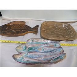 "3-Large Fish Platter (2)Signed Tarris Brown  approx. 18"" x 9.5"" Weights approx 5 lbs. each Light bro"