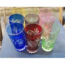 "9 - Ajka Marsala Water Glasses 1-red,2-green, 1-purple,2-pink,1-yellow & 2-Blue  approx 6"" tall"