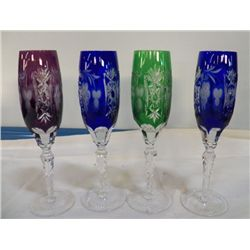 7- 7- Ajka Marsala Champagne Flutes 2-Blue,2-Green, 2-purple, 1- Red