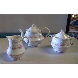 Tea set Marked Z.  S. & C. Bavaria tea pot - creamer - sugar white porcelain with pink flowers trimm
