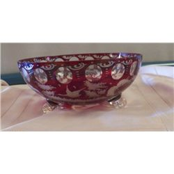 "Red Glass Crystal cut to Clear Footed Bowl approx 9"" x H 4"""