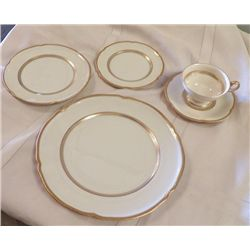 Castlelon China Regal Pattern Service for 10 egg shell in color with gold trim  10 dinner plates, 10