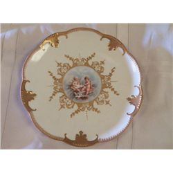 Limoges AK/CD Hand Painted Plate Angles trimmed in gold approx 9""