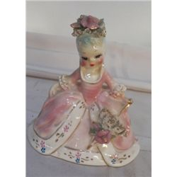 "Josef Figurine Pink Lady no chips or cracks approx 6"" x H 5"""