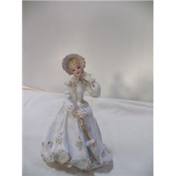 "Lefton China Hand Painted Figurine approx 6"" x 8""  White With Gold Condition is good no cracks or ch"