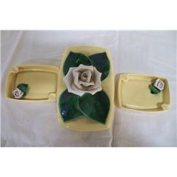 Yellow Cigarette Holder W/2-Ashtrays has White magnolia flowers on each peace Cig. case measures 6.5
