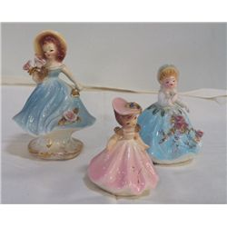 "3- Josef Original Porcelain Figurines pink lady is approx. H 3.5"" , Girl with large Hat is H 6"", gir"