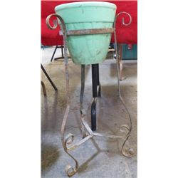 """Wrought Iron Plant Stand Approx 12"""" x 24"""" Single iron plant stand"""